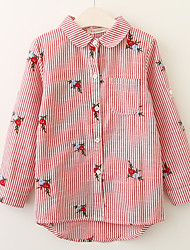 cheap -Girls' Active / Basic School / Going out Solid Colored / Striped / Jacquard Cut Out / Bow / Vintage Style Long Sleeve Cotton Dress Pink 2-3 Years(100cm) / Cute