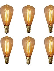 cheap -6pcs 40W E14 ST48 Incandescent Vintage Edison Light Bulb Warm White 2200-2700k Retro Dimmable Reproduction for Candle Pendant Light Chandelier 220-240V