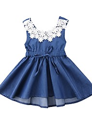 cheap -Toddler Girls' Active Daily Holiday Solid Colored Jacquard Backless Bow Flower Sleeveless Dress Blue / Cute