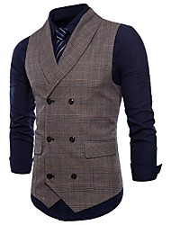 cheap -Men's Daily / Holiday Active Spring / Fall Plus Size Regular Vest, Plaid Fantastic Beasts Shirt Collar Sleeveless Polyester Brown / Dark Gray / Light gray / Slim