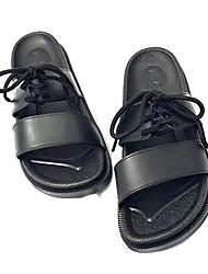 cheap -Men's Comfort Shoes PU Summer Slippers & Flip-Flops Black / White