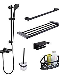 Недорогие -Смеситель - Ручная лейка входит в комплект / Термостатический черный Монтаж на стену Две ручки двумя отверстиямиBath Taps