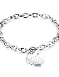 cheap -Women's Charm Bracelet Heart Ladies Titanium Steel Bracelet Jewelry Silver / Rose Gold For Ceremony Prom Promise / Steel Stainless