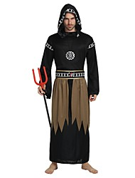 cheap -Devil Costume Men's Women's All Halloween Halloween Carnival Children's Day Festival / Holiday Polyster Outfits Black Solid Colored Halloween
