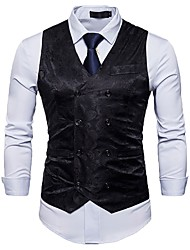 cheap -Men's Work Spring / Fall Regular Vest, Solid Colored / Floral Print V Neck Sleeveless Cotton / Polyester Black / Red / Light gray / Business Casual