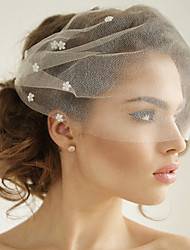 cheap -One-tier Euramerican Wedding Veil Blusher Veils with Acrylic / Crystals / Rhinestones Tulle / Oval