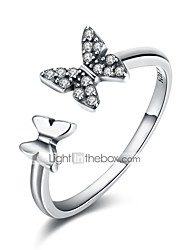 cheap -Women's Open Cuff Ring wrap ring Cubic Zirconia tiny diamond Silver Zircon S925 Sterling Silver Ladies Classic Basic Daily Work Jewelry Butterfly
