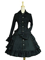 cheap -Gothic Lolita Classic Lolita Rococo Dress Women's Girls' Japanese Cosplay Costumes Black Solid Colored Puff / Balloon Sleeve Long Sleeve Knee Length / Gothic Lolita Dress / Classic Lolita Dress