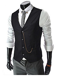 cheap -Men's Daily / Work Spring / Fall Regular Vest, Solid Colored Shirt Collar Sleeveless Cotton Black / White / Red / Business Casual