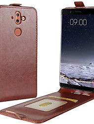 cheap -Case For Nokia Nokia 9 / Nokia 8 / Nokia 7 Card Holder / Flip Full Body Cases Solid Colored Hard PU Leather