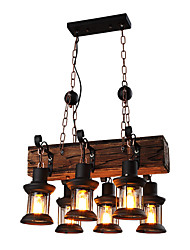 cheap -6-Light 30 cm Mini Style Pendant Light Metal Industrial Wood Artistic / Retro 110-120V / 220-240V