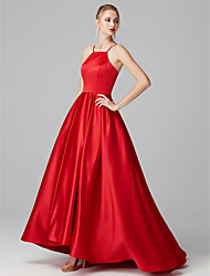 cheap -Ball Gown Y Neck Sweep / Brush Train Satin High Low / Elegant / Minimalist Prom / Formal Evening Dress with Pleats 2020