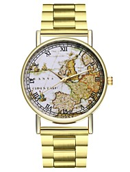 cheap -Men's World Map Stainless Steel Gold Chronograph Large Dial Analog World Map Travel Map - Gold One Year Battery Life / SSUO LR626