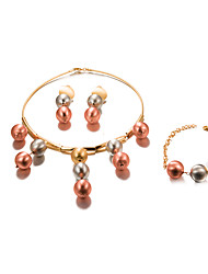 cheap -Women's Jewelry Set Statement Ladies Fashion Gold Plated Earrings Jewelry Gold For Wedding Party