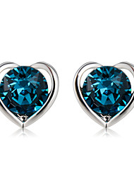 cheap -Women's Blue Crystal Stud Earrings Classic Heart Fashion Modern Elegant Earrings Jewelry Dark Navy For Causal Formal 2pcs