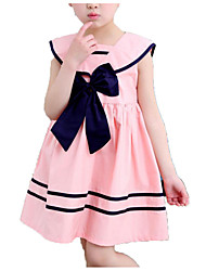 cheap -Kids Girls' Simple Casual Daily School Solid Colored Striped Bow Pleated Sleeveless Dress Blue / Cotton