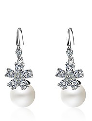 cheap -Women's Cubic Zirconia Drop Earrings Flower Sweet Imitation Pearl Zircon Earrings Jewelry Silver For Party / Evening Gift