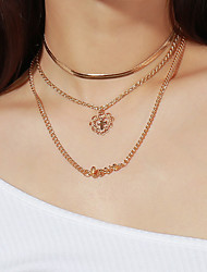 cheap -Women's Pendant Necklace Cross Heart Ladies Fashion Alloy Gold Necklace Jewelry For Party / Evening Gift Daily