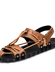 cheap -Men's Comfort Shoes Leather / Patent Leather Spring & Summer Casual Sandals Walking Shoes Breathable Black / Brown / Outdoor