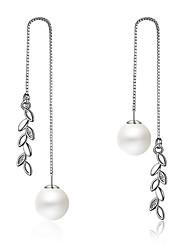 cheap -Women's Drop Earrings Long Leaf Ladies Bohemian Boho Oversized bridesmaid Pearl Earrings Jewelry Silver For Holiday Club