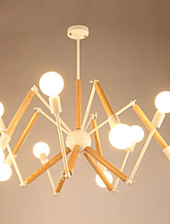 cheap -LightMyself™ 10-Light Chandelier Ambient Light Painted Finishes Metal Wood / Bamboo Black & White 110-120V / 220-240V Warm White / White Bulb Included / E26 / E27
