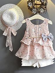 cheap -Toddler Girls' Clothing Set Floral Sleeveless Printing Daily Going out Yellow Blushing Pink Streetwear Regular