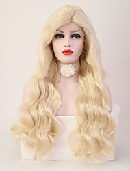 cheap -Synthetic Lace Front Wig Wavy Layered Haircut Lace Front Wig Blonde Long Light Blonde Synthetic Hair Women's Heat Resistant Blonde