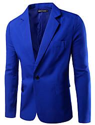 cheap -Men's Work Spring Regular Blazer, Solid Colored Notch Lapel Long Sleeve Polyester Basic Black / Wine / Light Blue / Business Casual / Slim
