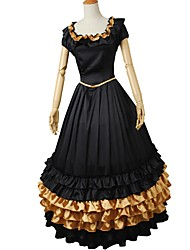 cheap -Rococo Victorian Costume Women's Outfits Golden+Black Vintage Cosplay Elastic Satin Short Sleeve Puff / Balloon Sleeve Ball Gown