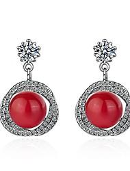 cheap -Women's Cubic Zirconia Drop Earrings Sweet Pearl Zircon Earrings Jewelry White / Red For Party Prom Promise
