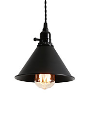 cheap -1-Light Vintage Loft Black Metal Shade Pendant Lights With Switch Dining Room Entry Hallway Cafe Mini Light Fixture