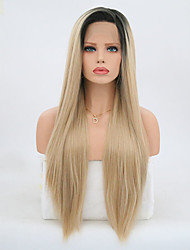 cheap -Synthetic Lace Front Wig Straight Straight Lace Front Wig Blonde Long Black / Gold Synthetic Hair Women's Blonde