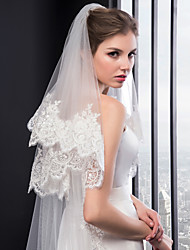 cheap -Two-tier Embroidery Wedding Veil Chapel Veils with Embroidery Tulle / Classic