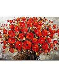cheap -Oil Painting Hand Painted - Abstract Floral / Botanical Comtemporary Modern Stretched Canvas
