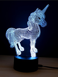 Недорогие -1 комплект Unicorn 3D ночной свет Поменять DC Powered / USB Меняет цвета / Креатив / Украшение 5 V