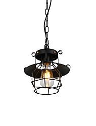 cheap -1-Light Vintage Black Metal Cage Loft Mini Pendant Lights Living Room Dining Room Hallway Cafe Bars Light Fixture