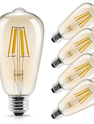 cheap -5pcs 6 W LED Filament Bulbs 560 lm E26 / E27 ST64 6 LED Beads COB Decorative Warm White 220-240 V