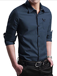 cheap -Men's Work Business Slim Shirt - Solid Colored Basic Classic Collar Black / Long Sleeve