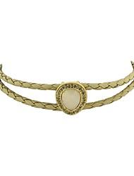 cheap -Women's Tourmaline Choker Necklace Leaf Drop Ladies Hemp Rope Imitation Tourmaline Alloy Black Beige 40 cm Necklace Jewelry For Party / Evening School