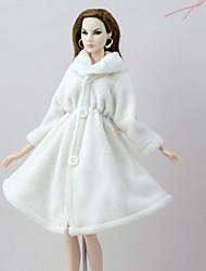 abordables -Tenue de poupée Manteau de poupée Manteaux Pour Barbie Blanche Flanelle Toison Polyester Manteau Pour Fille de Jouets DIY