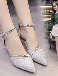 cheap -Women's Sandals Low Heel Round Toe PU Comfort / Light Soles Spring / Summer Gold / Silver / Party & Evening / Dress / EU39