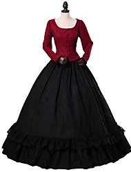 cheap -Rococo Victorian Costume Women's Outfits Red+Black Vintage Cosplay 50% Cotton / 50% Polyester Woolen Long Sleeve Puff / Balloon Sleeve Ball Gown