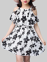 cheap -Kids Girls' Street chic Daily Floral Print Short Sleeve Dress Black