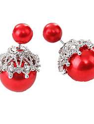 cheap -Women's Stud Earrings Ladies Fashion Imitation Pearl Imitation Diamond Earrings Jewelry White / Red / Dark Purple For Daily Going out
