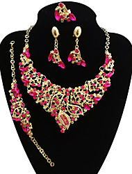 cheap -Women's Jewelry Set Bracelet Bangles Chain Necklace Leaf Statement Ladies Vintage Oversized Earrings Jewelry Purple / Rainbow / Red For Wedding Party / Statement Ring / Dangle Earrings