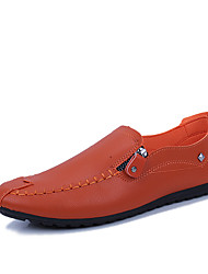 cheap -Men's Moccasin Faux Leather Spring & Summer / Fall & Winter Business / Casual Loafers & Slip-Ons Walking Shoes Breathable Black / White / Orange / Office & Career
