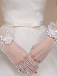 cheap -Lace Wrist Length Glove Bridal Gloves With Trim
