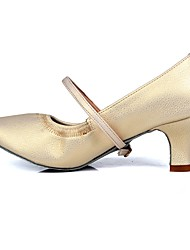 cheap -Women's Modern Shoes / Ballroom Shoes Faux Leather Buckle Heel Buckle Cuban Heel Customizable Dance Shoes Beige / Practice / EU38
