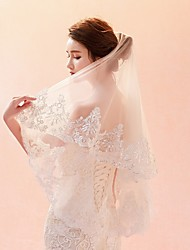 cheap -One-tier Lace Applique Edge / Veil Wedding Veil Elbow Veils / Fingertip Veils with Pattern Lace / Tulle / Oval