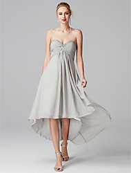 cheap -A-Line Sweetheart Neckline Asymmetrical Chiffon Cocktail Party / Prom Dress with Beading / Criss Cross by TS Couture®